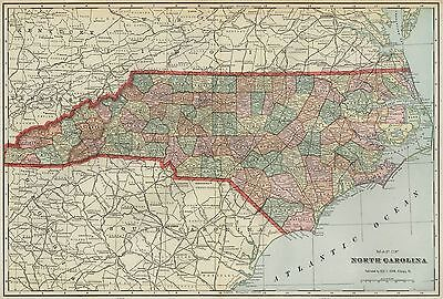 NORTH CAROLINA Map: Authentic 1899; Counties, Cities, Railroads, Topography