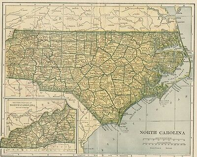 NORTH CAROLINA Map: 100 Years Old with Counties, Towns, Topography, Railroads