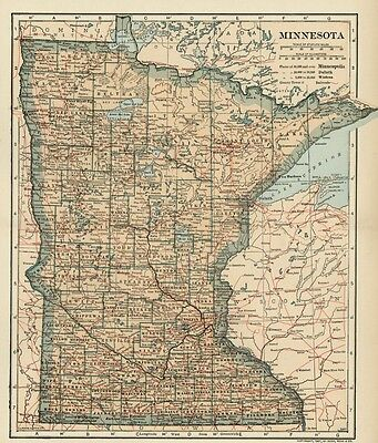 MINNESOTA Map: Authentic 1907 (dated) with Counties, Towns, Topog, Railroads