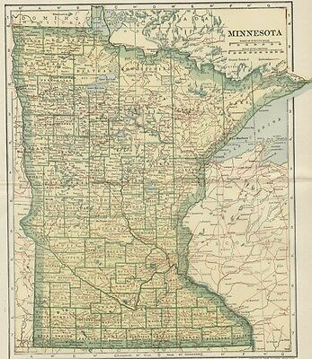 MINNESOTA Map: 100 Years Old showing Counties, Towns, Topography, Railroads