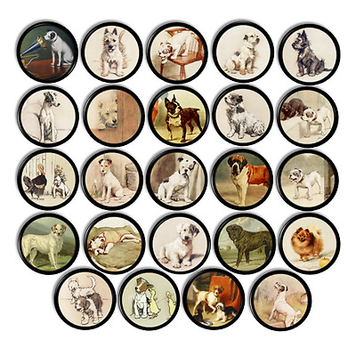 Vintage Dog Illustration Drawer Pulls - Puppy Pet Lover - Antique Cabinet Knobs