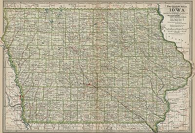 IOWA Map: Authentic 1897 (Dated) Towns, Counties, Railroads, Topography