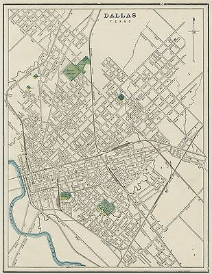 Dallas Texas Street Map: Authentic 1887; showing Stations, Landmarks & more