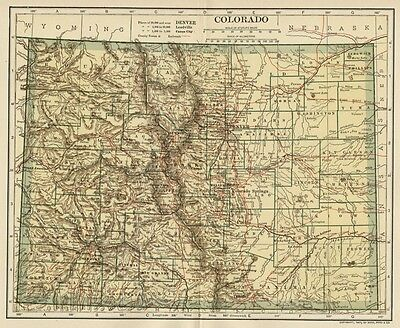 COLORADO Map: Authentic 1907 (dated) with Counties, Towns, Topography, Railroads