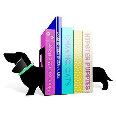 Mustard Book Ends - Black Really Long Sausage Dog Bookends - I Metal Shelves
