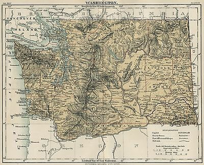 Washington: Authentic 1889 Map showing Counties, Cities, Topography, Railroads