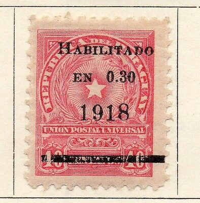 Paraguay 1918 Early Issue Fine Mint Hinged 30c. Surcharged Optd 147506
