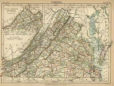 Virginia: Authentic 1876 Map: Counties, Cities, Topography, RRs: W & AK Johnston