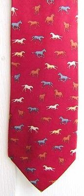 Quality HORSES Design Red Color Mens Silk Necktie CLEARANCE SALE