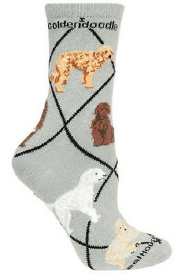 Adult Size Medium GOLDENDOODLE II Adult Socks/Gray Made in USA