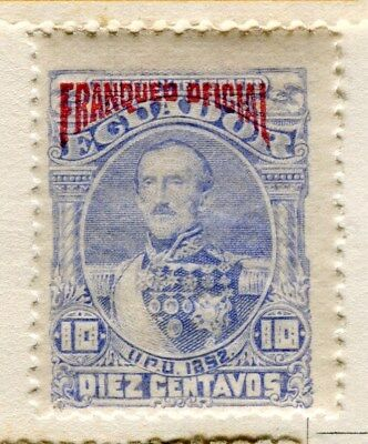 ECUADOR;  1892 classic Official issue Mint hinged 10c. value