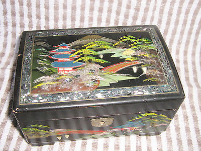 Vintage Oriental Black lacquer Mirrored Musical Jewellery Box inlaid with shells