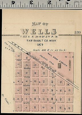 Wells, Minnesota: Authentic 1874 Hand Colored Street Map (Small)