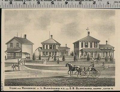 OB Blanchard Store & Home in Edgewood Iowa VIEW; Authentic 1875 Item