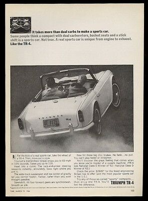1964 Triumph TR-4 TR4 car & dual carbs photo vintage print ad