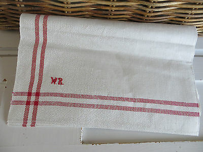 "Unused  German White Of Cream Linen Towel Red Stripes  Monogram WR  24 "" by 33 """