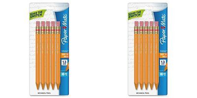 2 PACKS: Paper Mate Mates 1.3mm Mechanical Pencils, 5 Yellow Barrel Mechanical