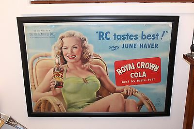 1940s Vintage RC Royal Crown Cola Lithograph Soda Advertisement Cardboard Framed