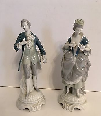 Fine Porcelain German Figurines Colonial Man Woman Dresden Style