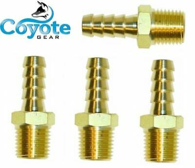 """Ships Free 4 Pack Lot Brass Fittings: 1/4"""" Hose Barb x 1/4"""" NPT Male Pipe Thread"""