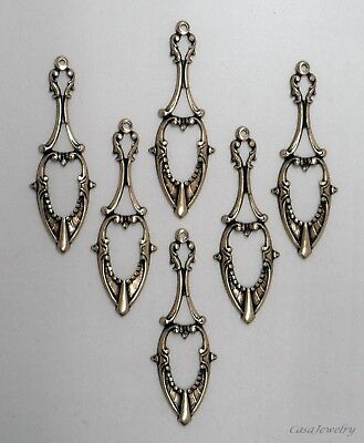 #0070 ANTIQUED GOLD PENDANT/ER WITH TOP HANG HOLE - 6 Pc Lot