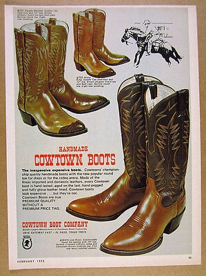 1972 Cowtown Boot Co. Cowboy Boots 3 models styles vintage print Ad