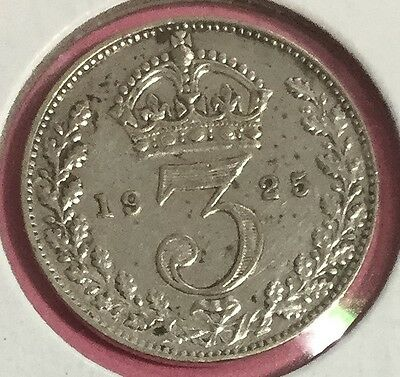 1925 British SILVER 3 Pence! Choice XF Details! Old British Coin