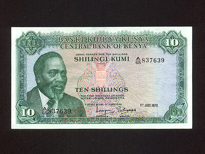 Kenya:P-7d,10 Shillings,1973 * Jomo Kenyatta * 2nd Issue ! * EF *