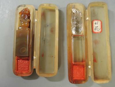 2 Vintage Chinese Carnelian Carved Foo Dog Wax & Clear Quartz  Fruit Wax Seals