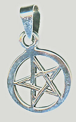 "925 Sterling Silver Plain Pentagram in Circle Pendant just over 1/2"" w/o bail"