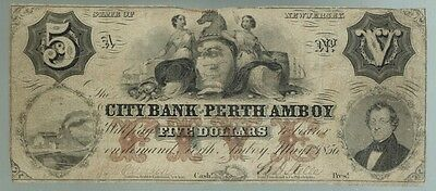 New Jersey 1856 CITY BANK OF PERTH AMBOY $5 Obsolete Currency Note