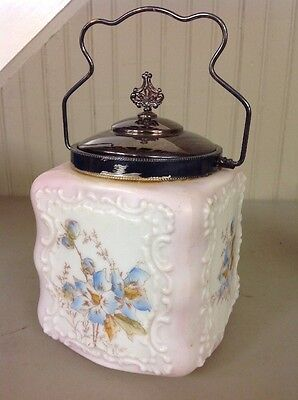 Early Vintage Antique Wavecrest Egg-Crate, Biscuit Barrel Jar w/ Lid