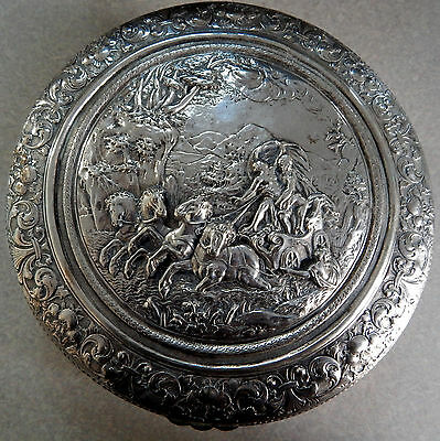 """Large 800 Silver Repousse Box """"the Rape Of Persephone"""" Germany 30 Troy Ounces"""