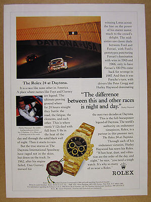 1996 hurley haywood photo Rolex Daytona Cosmograph watch vintage print Ad