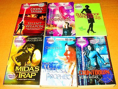 """SILHOUETTE """"Bombshell"""" ROMANCE/SUSPENSE Book Lot of 6 -SOFTCOVERS--NO DUPS"""