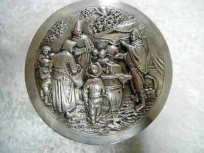 Dutch 830 Silver Repousse Box 14.9 Troy Ounces International Market Scene