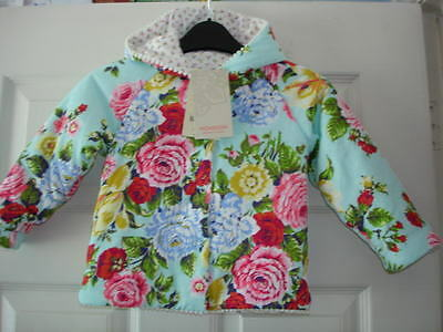 Monsoon Vintage Rose REVERSIBLE Baby Girls Hooded Coat 12/18mths BNWT