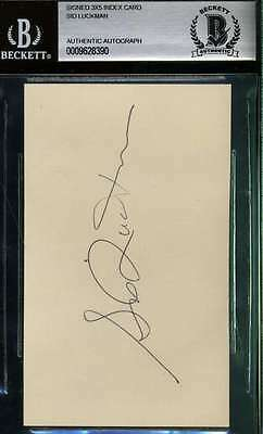 SID LUCKMAN SIGNED 3x5  INDEX CARD BAS BECKETT AUTHENTIC AUTOGRAPH