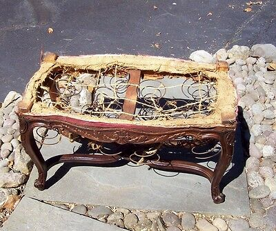 Antique Vintage Victorian ? Edwardian Ornate Wood Wooden Piano Bench Refinished