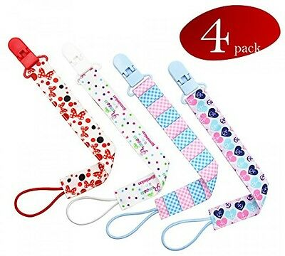 Baby Pacifier Clips, 4 Pacifier Clip Pack, Pacifier Holder for Girls, Polyester