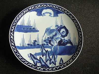 Antique Chinese Blue White Porcelain Large Plate