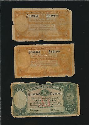 Australia - 3 Old Notes - 10 Shillings & Pound Notes P-25 & P-26