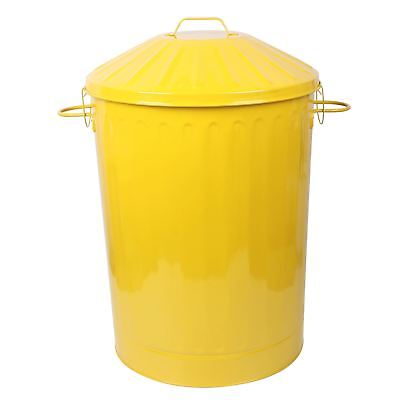 90L X-Large Colour Metal Dustbin House Garden Bin Special Locking Lid Yellow New