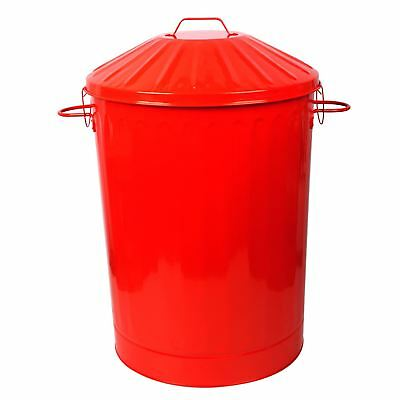 90L X-Large Colour Metal Dustbin House Garden Bin Special Locking Lid Red New