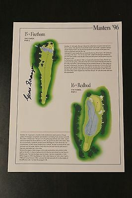 Gene Sarazen signed DOUBLE EAGLE Masters Augusta golf pic - 15th hole Firethorn