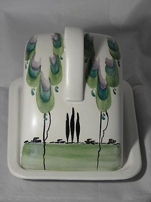 RARE? E RADFORD HAND PAINTED POTTERY CHEESE  BUTTER DISH C1930s ART DECO PATTERN