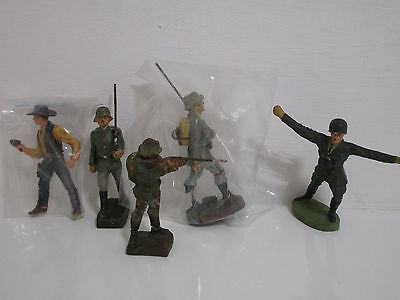 Alte Soldaten Figuren + Cowboy Von Lineol Germany & Elastolin Germany