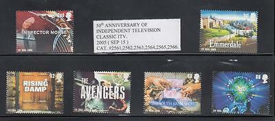 GB # 2308-2313 VF-MNH 50th ANNIVERSARY OF INDEPENDENT TELEVISION CLASSIC TV