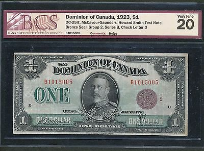 1923 Dominion of Canada $1 DC-25iT Test Note Bronze Seal BCS VF20. RARE 26 known