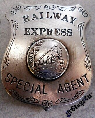 Railway Express Special Agent railroad silver western badge B50